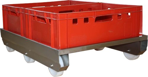 Stainless steel wheelchair, double wheelchair for E2 butcher crates
